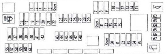 общая схема блока предохранителей bmw f01 02