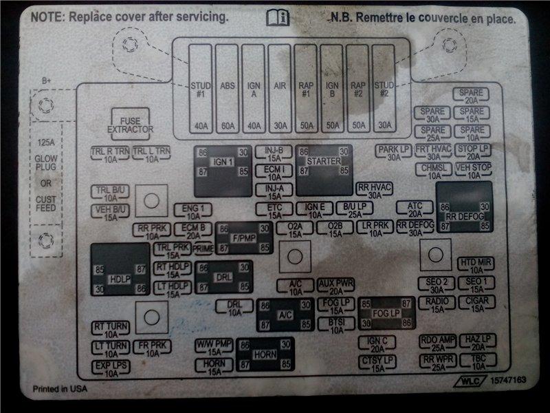 схема блока предохранителей тахо 3