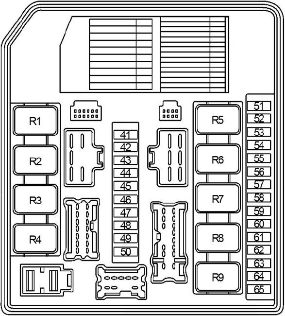 Схема монтажного блока по капотом