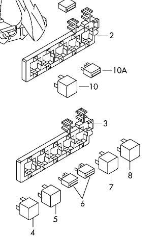 Схема блока с реле шкода суперб 2