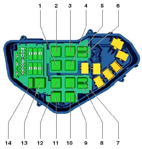 Схема блока под капотом Volkswagen Tuareg 2