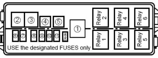 Схема блока под капотом Сузуки Лиана