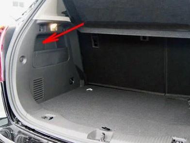 Расположение блок в багажнике