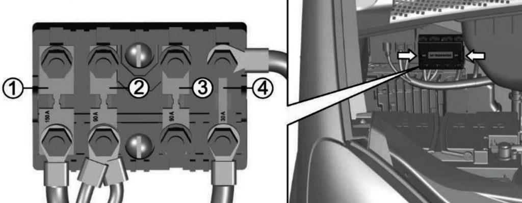 1 125 Предпусковой подогреватель воздуха 2 90 Общая плюсовая цепь автомобиля 3 40 Резерв 4 30 Система управления двигателем