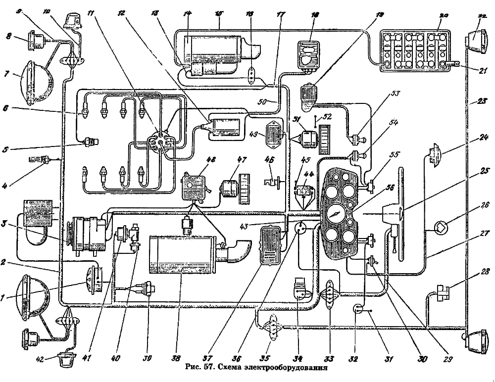 Электросхема Газ 53