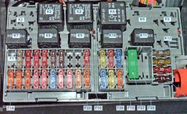Фото схема блока в салоне лада приора