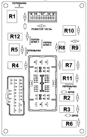 Схема блока в салоне с обратной стороны