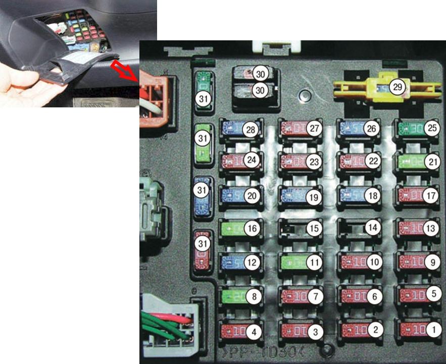 Фото - схема блока в салоне хендаи гетц