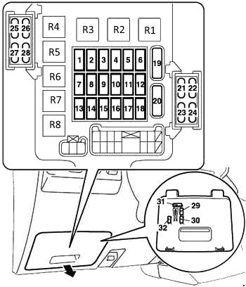 Схема блока в салоне поджеро 4