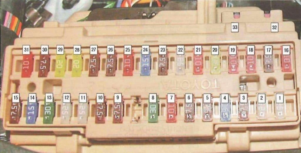 Схема блока в салоне камри 40