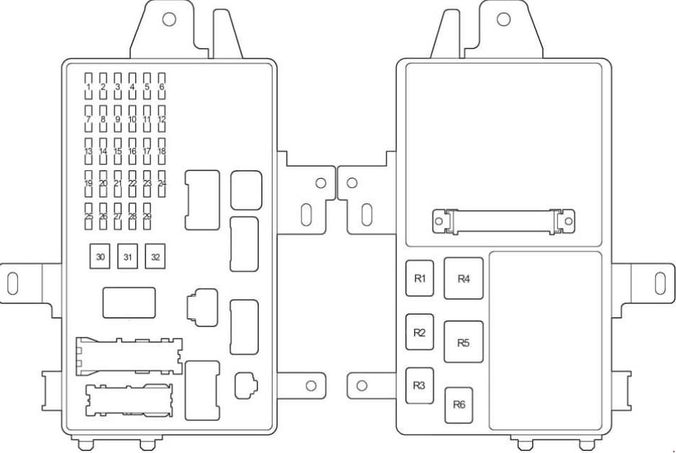 Схема блока в салоне камри 30