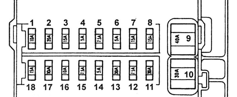 Схема блока в салоне Тойта Виста св40