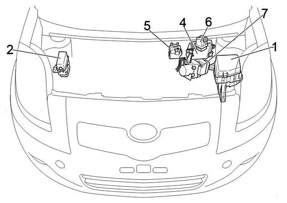 Схема блоков под капотом правый руль