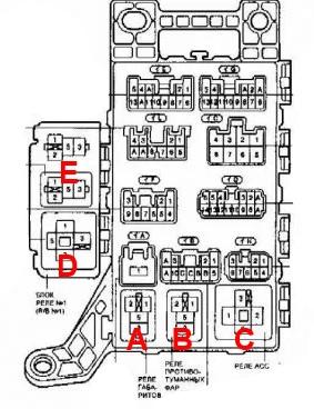 Схема реле с обратной стороны блока